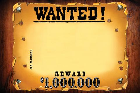 frame_wanted_horizontal western wanted posted - Most Wanted Picture Frame